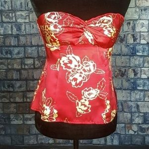 Lipstick red Nanette Lepore silk bustier/corset